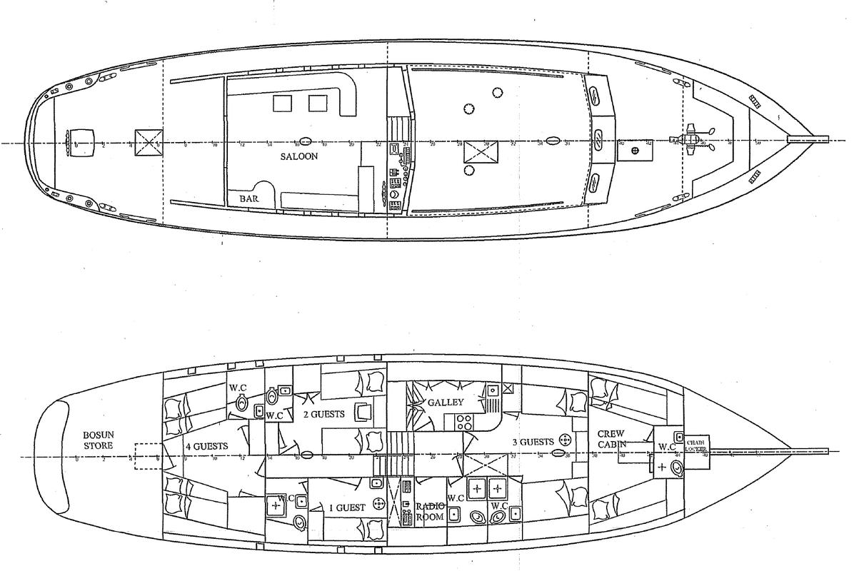 Custom Made  Schooner Motor Sailboat Odysseus A.  9